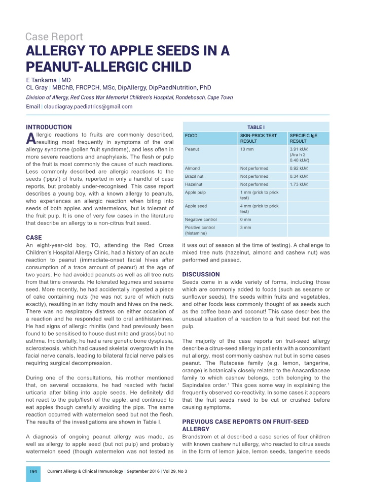 case report allergy to apple seeds in a peanut