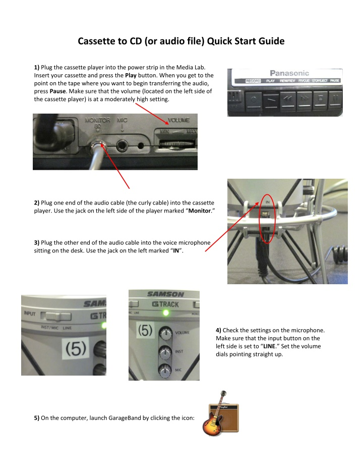 cassette to cd or audio file quick start guide