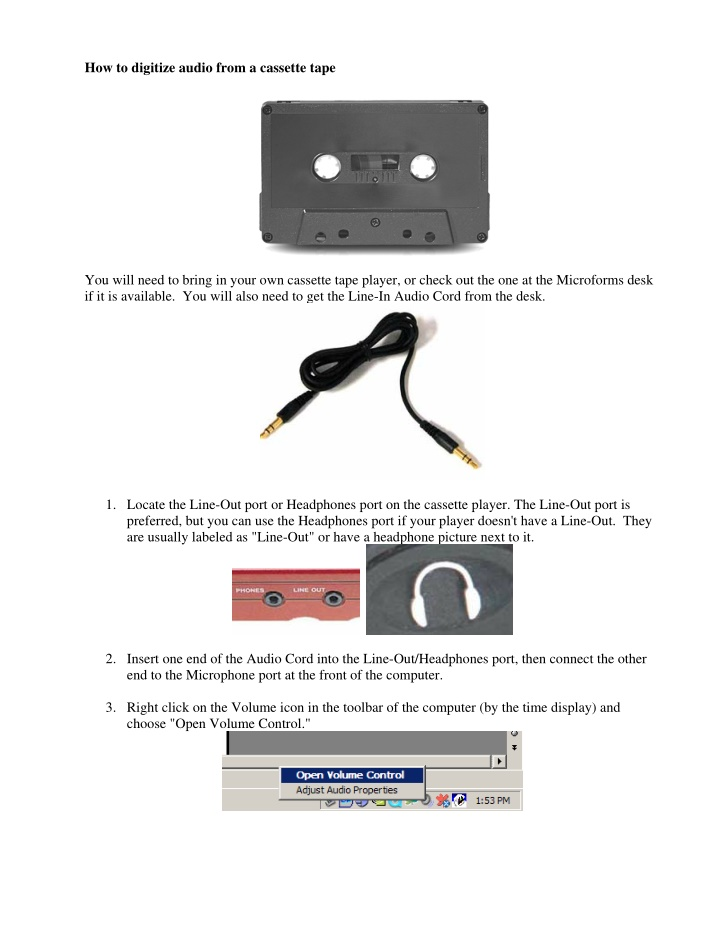 how to digitize audio from a cassette tape