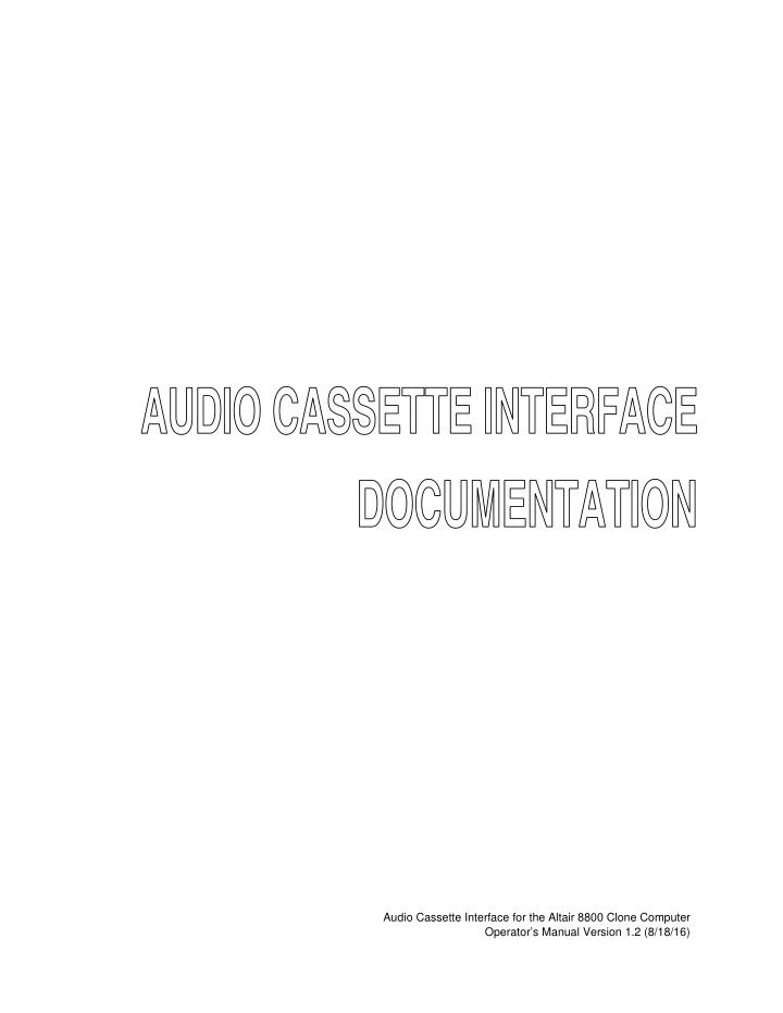 audio cassette interface for the altair 8800