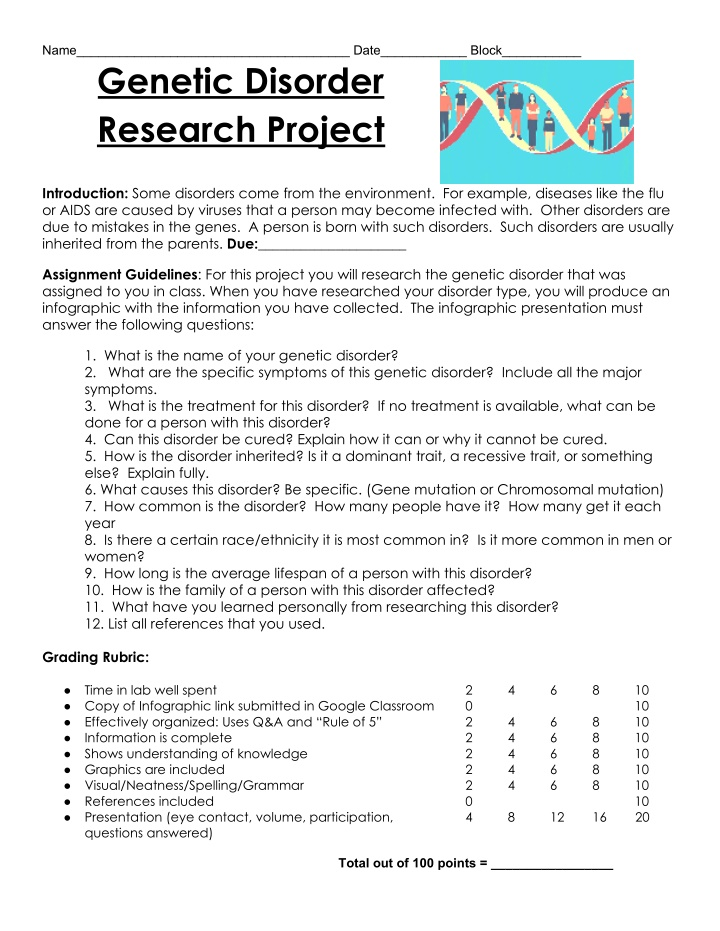 name date block genetic disorder research project