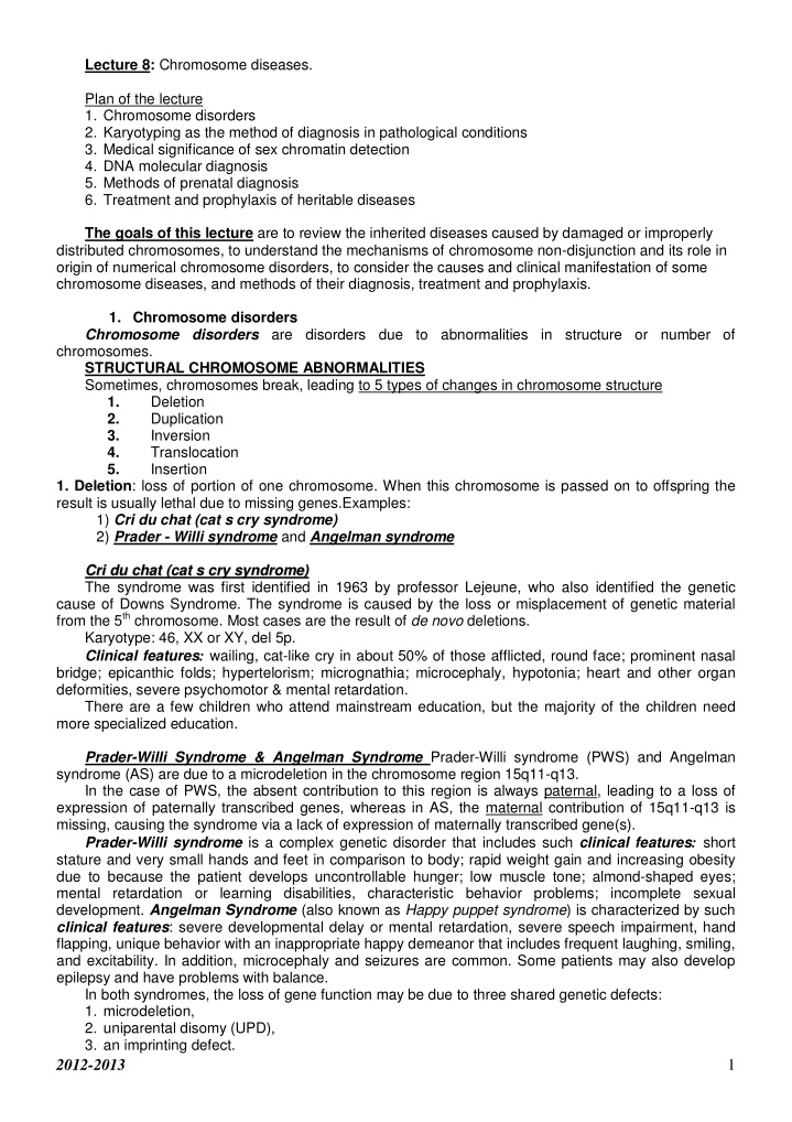lecture 8 chromosome diseases plan of the lecture