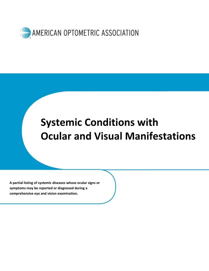 systemic conditions with ocular and visual