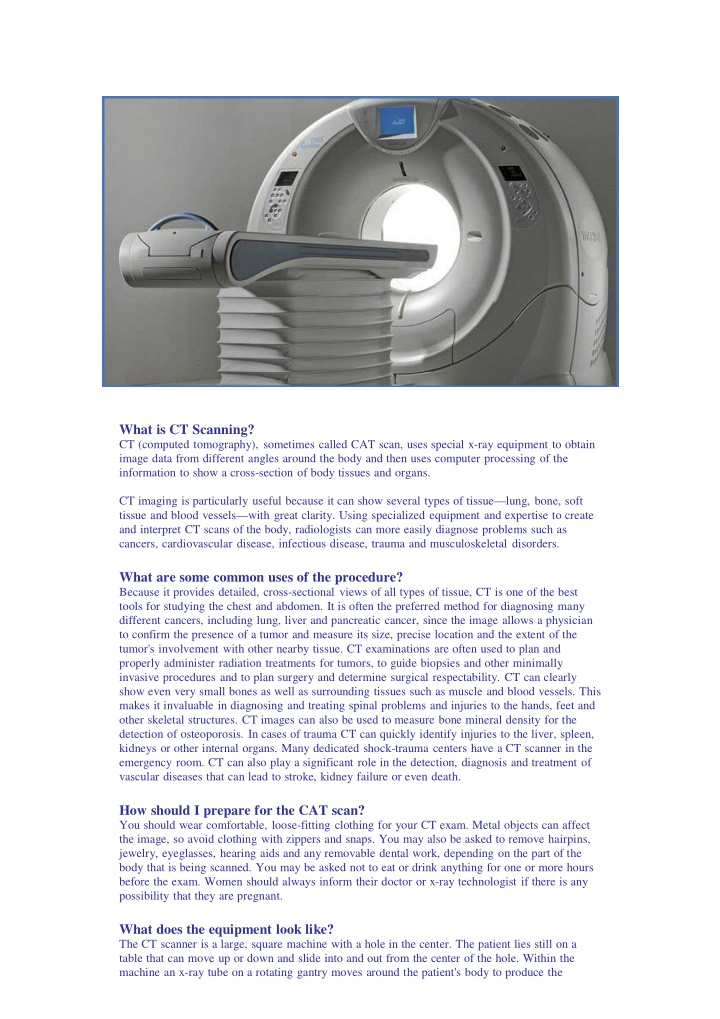 what is ct scanning ct computed tomography