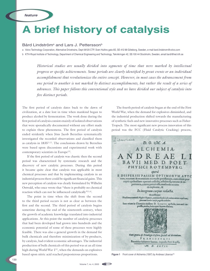 a brief history of catalysis