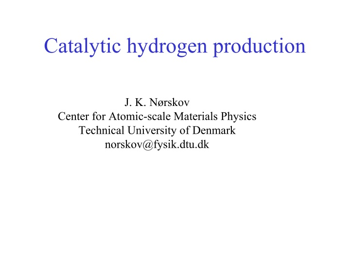 catalytic hydrogen production