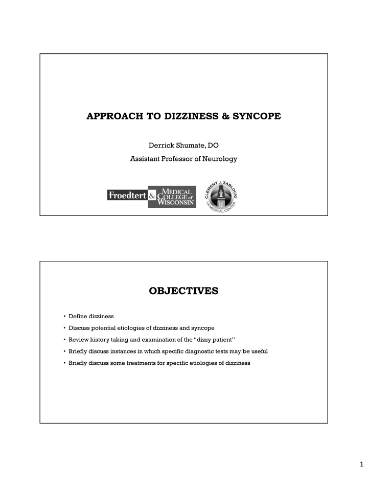 approach to dizziness syncope