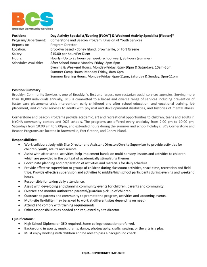position program department reports to location