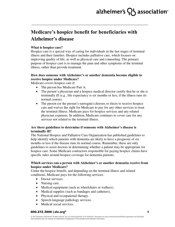 medicare s hospice benefit for beneficiaries with
