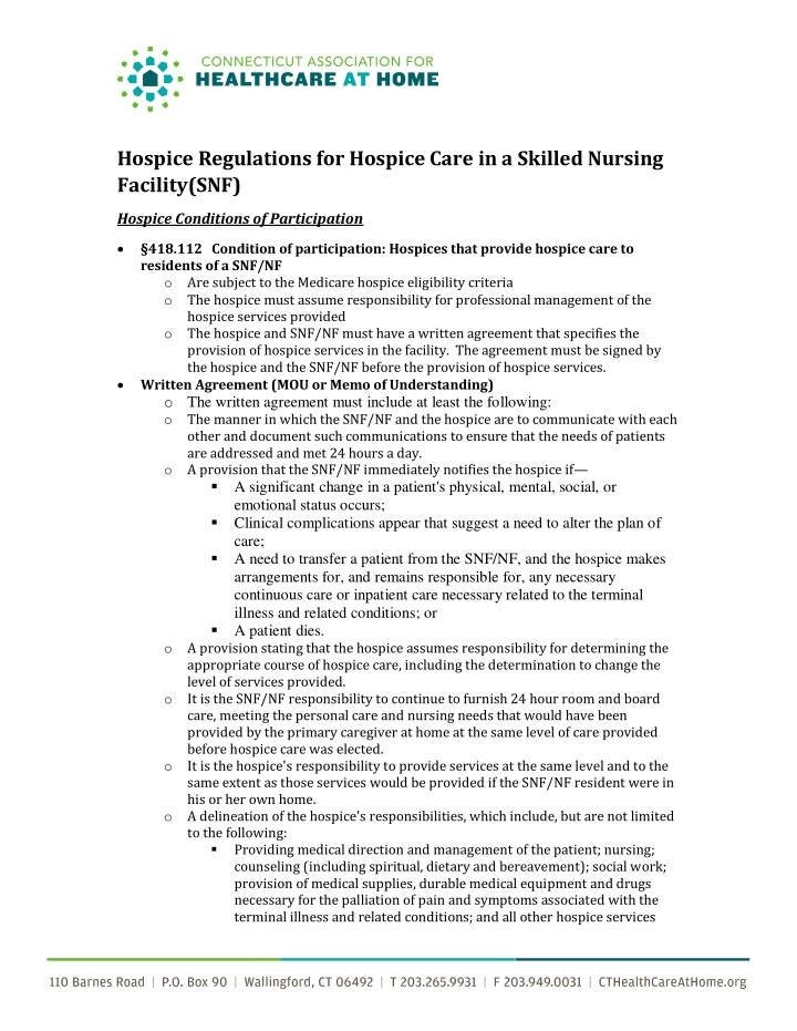 hospice regulations for hospice care in a skilled