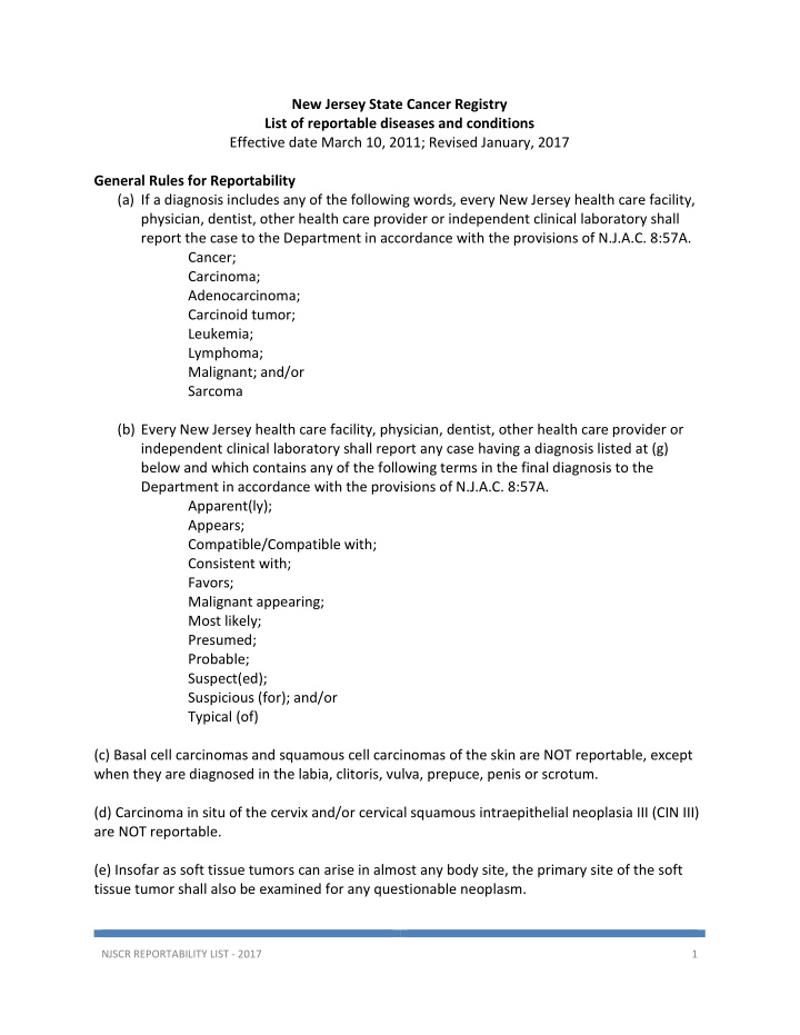 new jersey state cancer registry list
