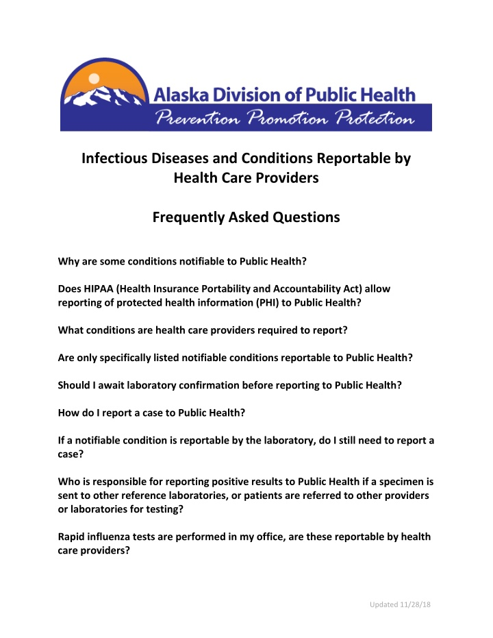 infectious diseases and conditions reportable