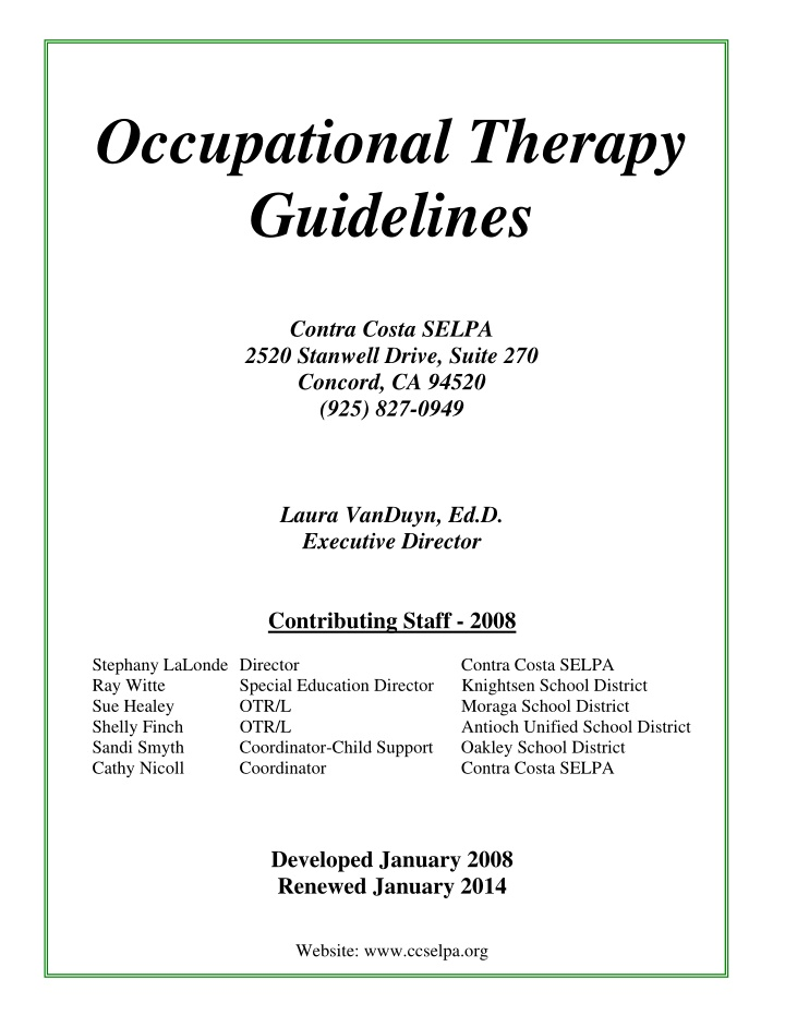 occupational therapy guidelines contra costa