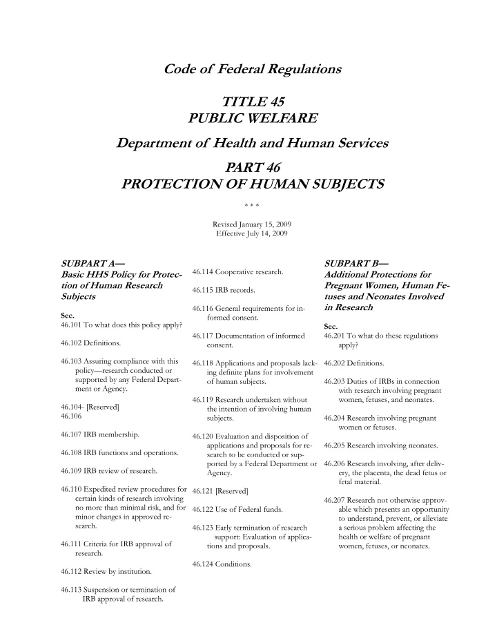 code of federal regulations title 45 public
