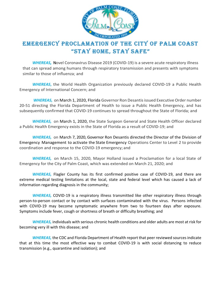 emergency proclamation of the city of palm coast