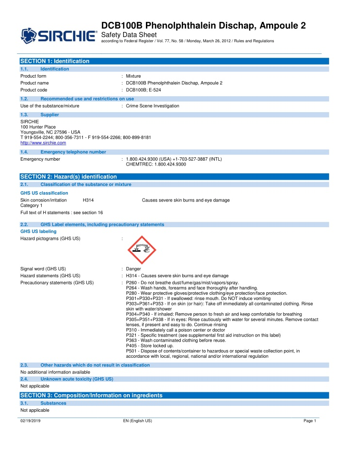 dcb100b phenolphthalein dischap ampoule 2 safety