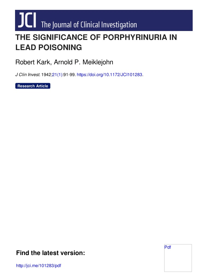 the significance of porphyrinuria in