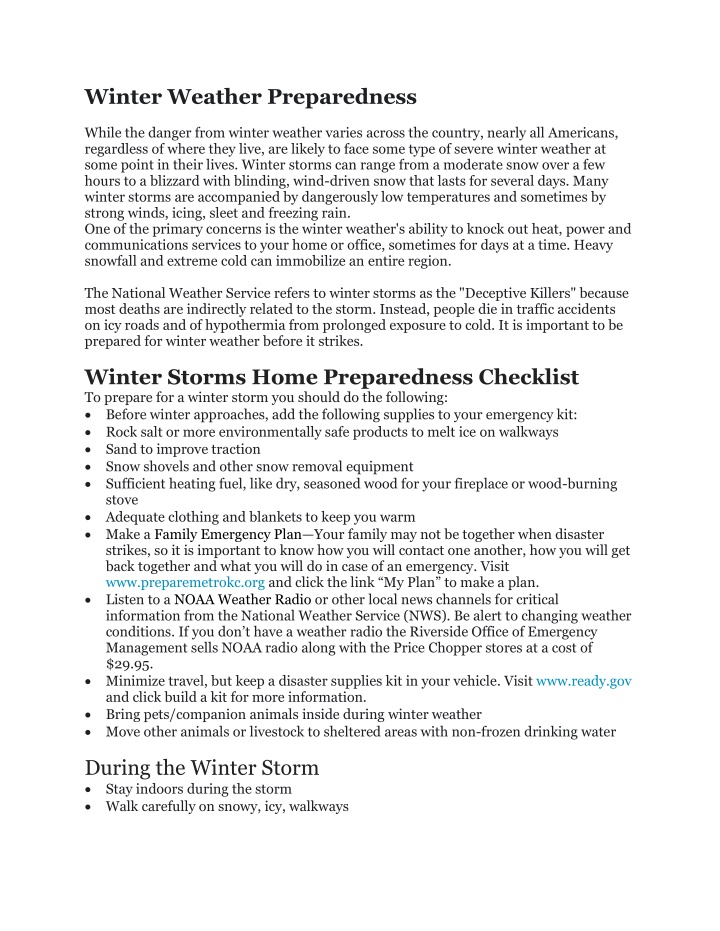 winter weather preparedness while the danger from