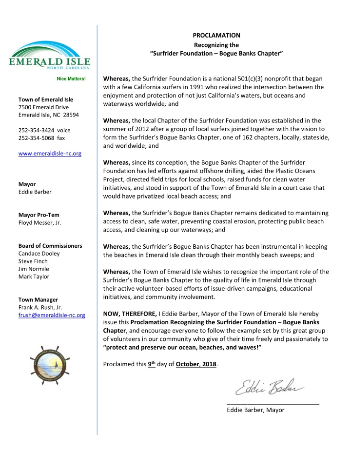 proclamation recognizing the