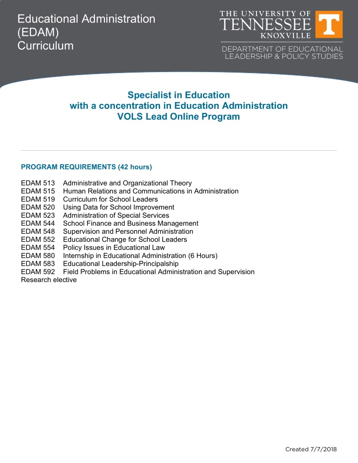educational administration edam curriculum