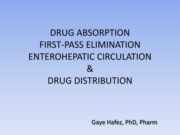 drug absorption first pass elimination