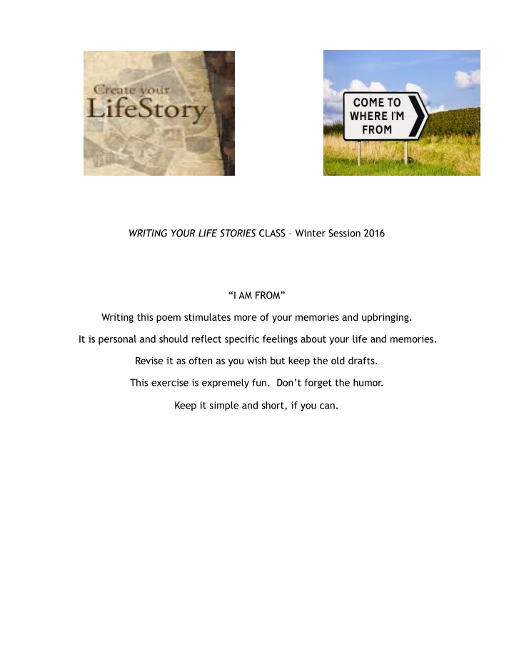 writing your life stories class winter session