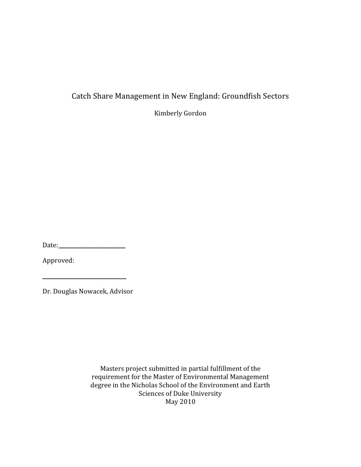 catch share management in new england groundfish
