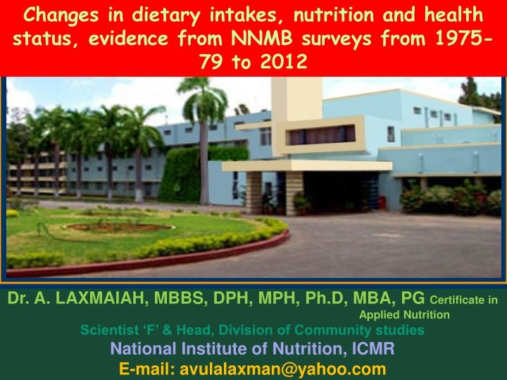 changes in dietary intakes nutrition and health