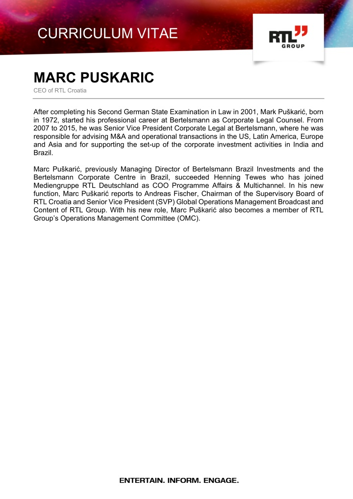 curriculum vitae marc puskaric ceo of rtl croatia