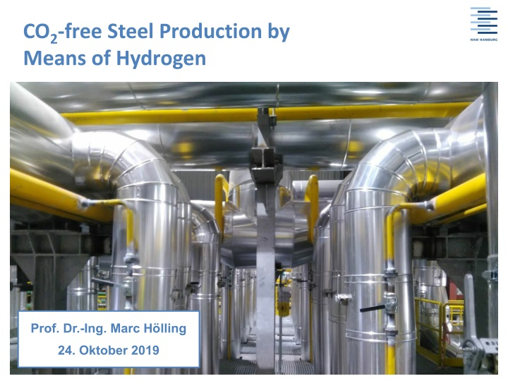 co 2 free steel production by means of hydrogen