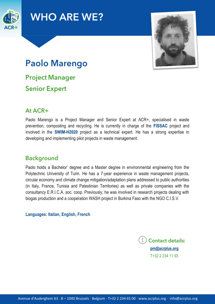 paolo marengo is a project manager and senior