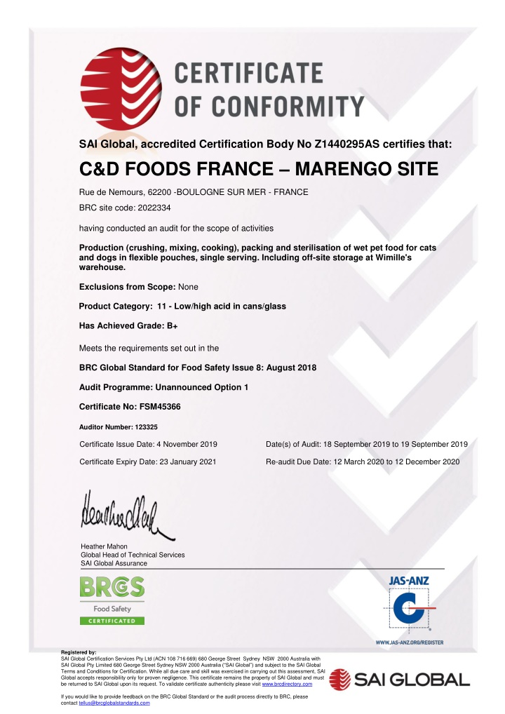 sai global accredited certification body