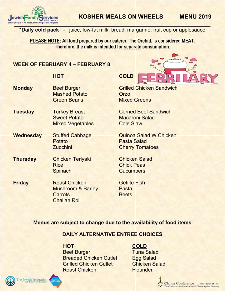 kosher meals on wheels menu 2019 daily cold pack