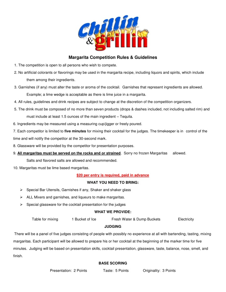 margarita competition rules guidelines