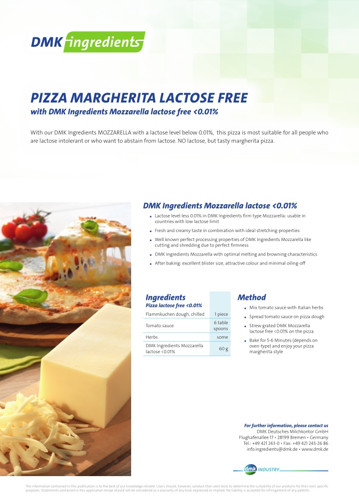 pizza margherita lactose free with