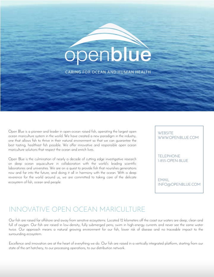 open blue is a pioneer and leader in open ocean