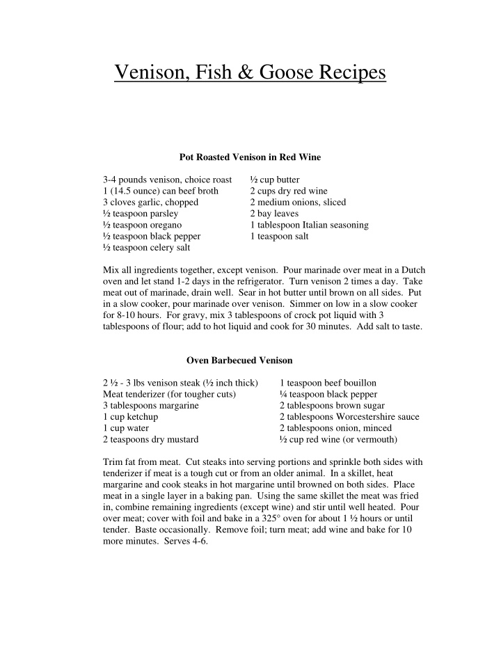 venison fish goose recipes pot roasted venison