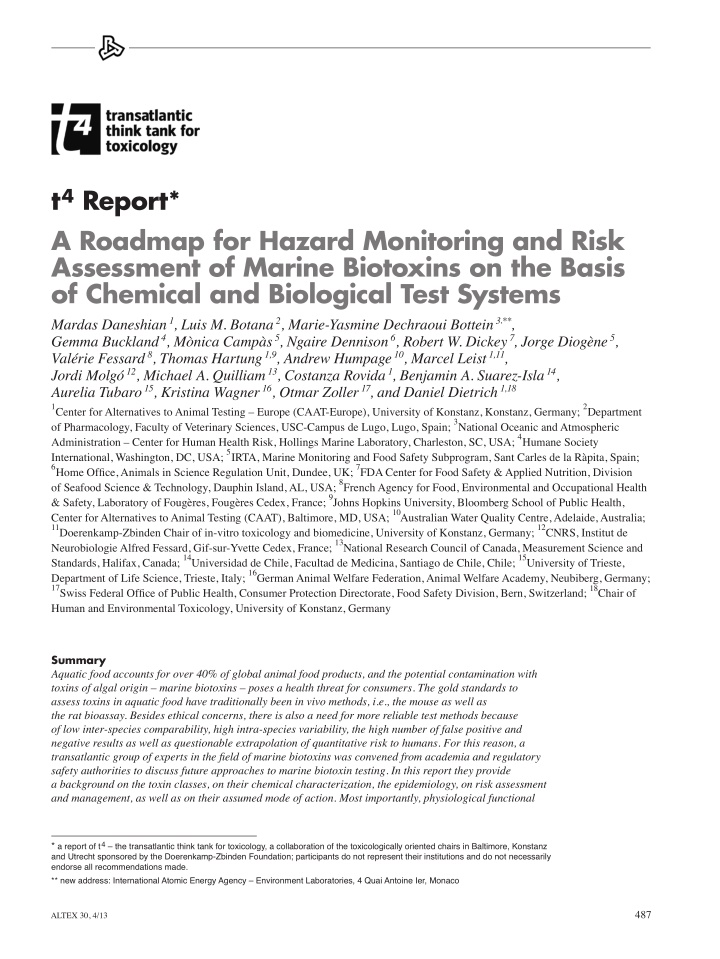 t 4 report a roadmap for hazard monitoring