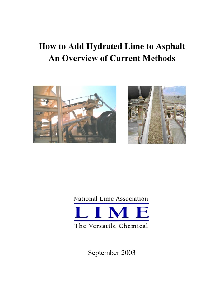 how to add hydrated lime to asphalt an overview