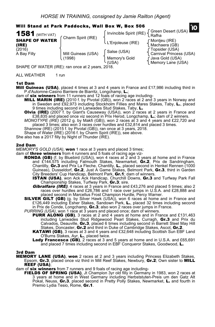 horse in training consigned by jamie railton