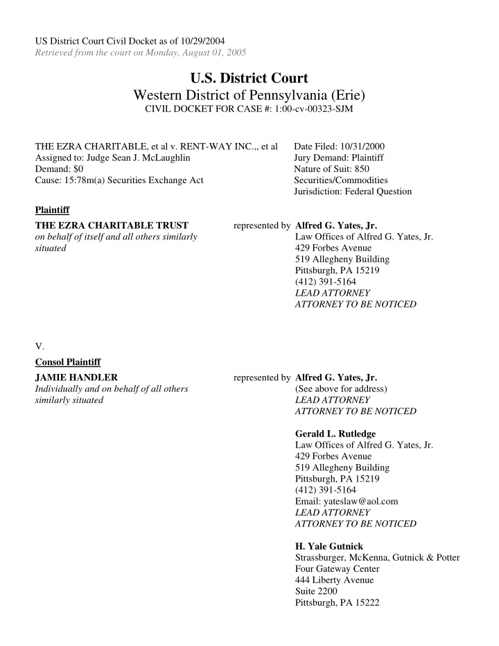 us district court civil docket as of 10 29 2004