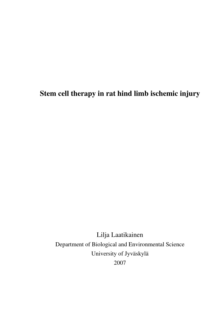 stem cell therapy in rat hind limb ischemic injury