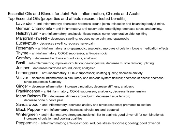 essential oils and blends for joint pain