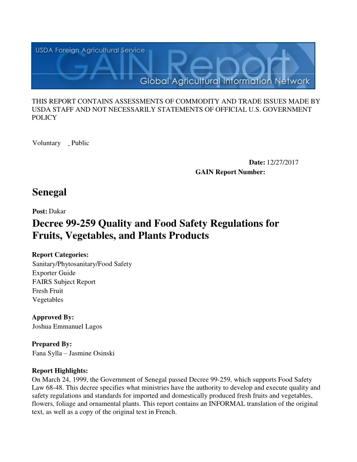 this report contains assessments of commodity