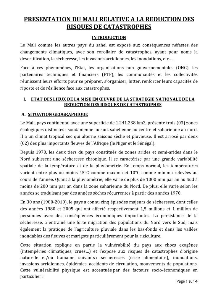 presentation du mali relative a la reduction