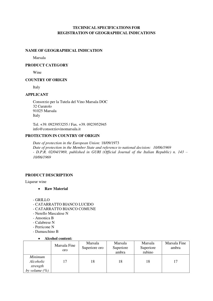 technical specifications for registration