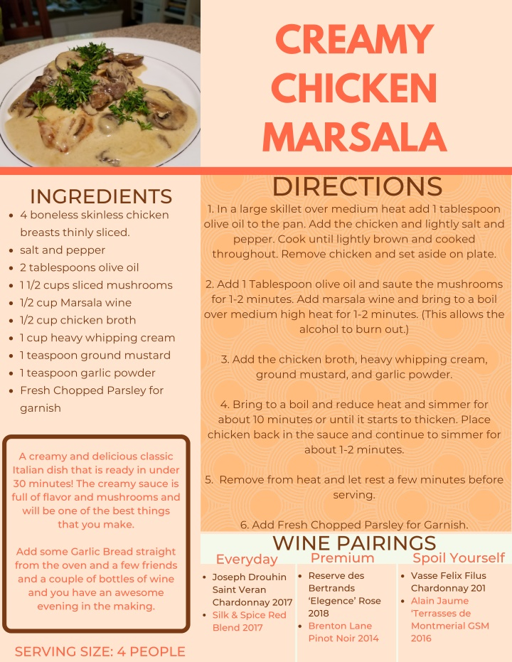 creamy chicken marsala directions 1 in a large