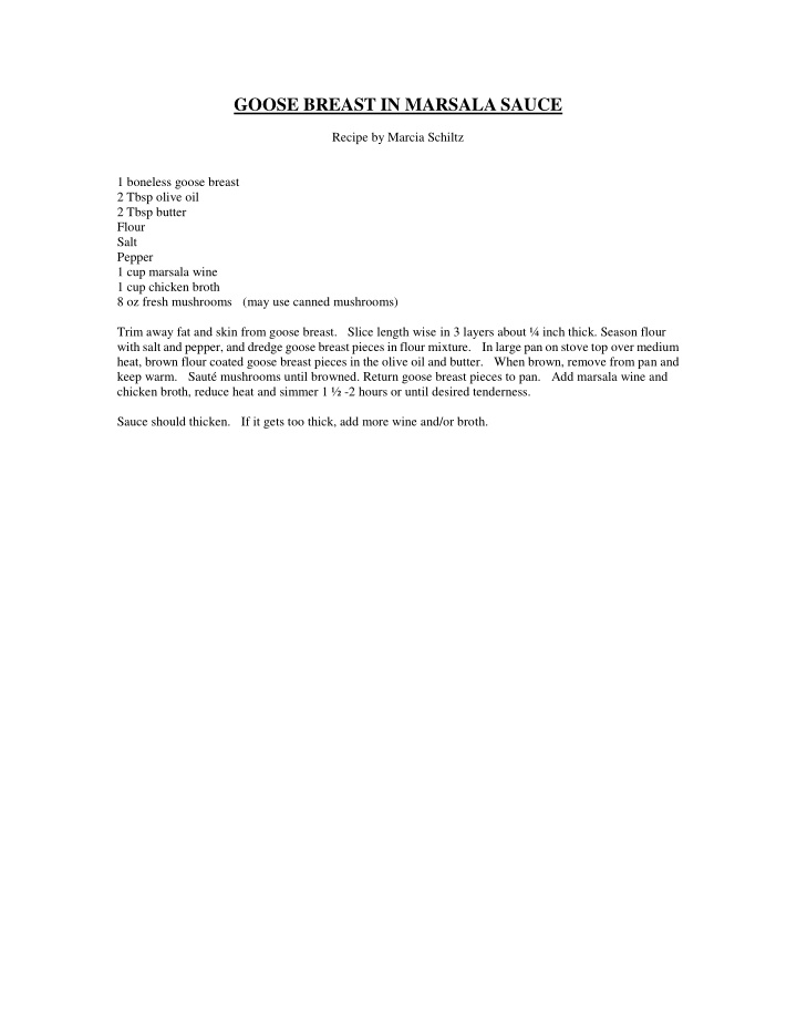 goose breast in marsala sauce recipe by marcia