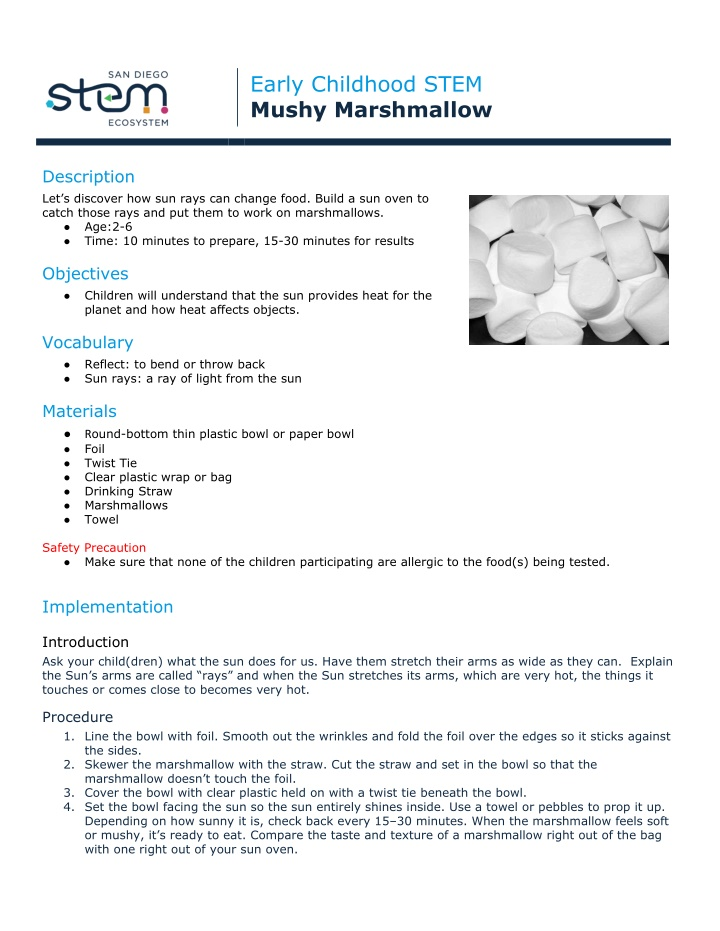 early childhood stem mushy marshmallow