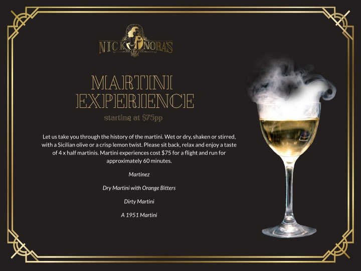 martini experience starting at 75pp